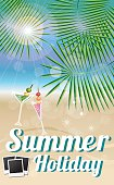 Summer holiday card with tropical island and photos
