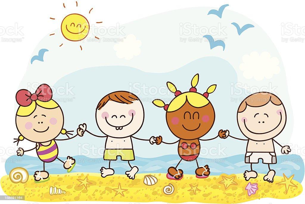 summer holiday children holding hands cartoon illustration vector art illustration