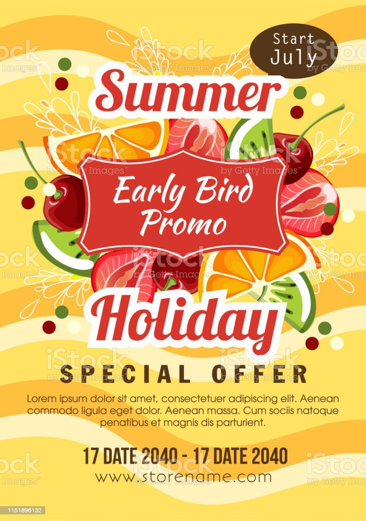 Summer Holiday Early Bird Promo Fruit Theme Stock