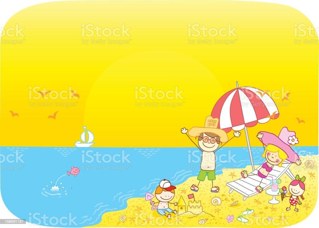 summer holiday family cartoon illustration vector art illustration