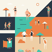 Summer holiday - flat design style illustration. Cute cartoon men, women and children in swimsuits sunbathing. Composition with changing cabins, sea, umbrellas, cars. Vacation on the beach