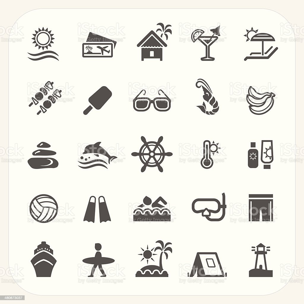 Summer holiday icons set vector art illustration