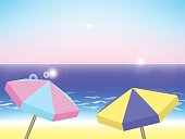 Summer holiday landscape, vector background with beach, umbrellas, sea and sky, summer vacation by the sea vector illustration with place for text, seaside holiday background with colorful umbrellas