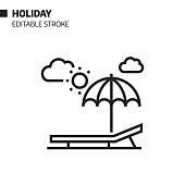 Summer Holiday Line Icon, Outline Vector Symbol Illustration. Pixel Perfect, Editable Stroke.