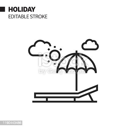 istock Summer Holiday Line Icon, Outline Vector Symbol Illustration. Pixel Perfect, Editable Stroke. 1190443486