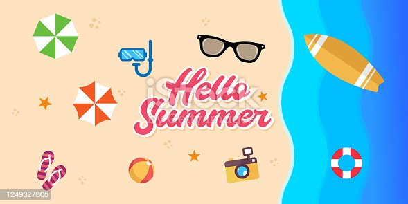 istock Summer Holiday on the beach Vector Illustration. Summer vacation Vector flat design illustration. Abstract Summer background design template for banner, flyer, invitation, poster, brochure. 1249327805