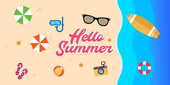Summer Holiday on the beach Vector Illustration. Summer vacation Vector flat design illustration. Abstract Summer background design template for banner, flyer, invitation, poster, brochure.
