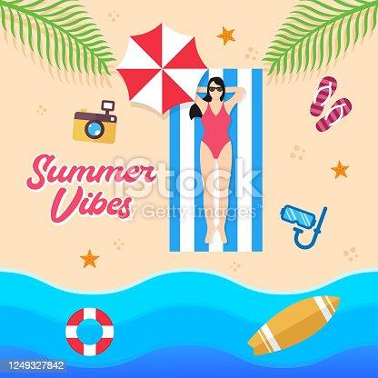 istock Summer Holiday on the beach Vector Illustration. Summer vacation Vector flat design illustration. Abstract Summer background design template for banner, flyer, invitation, poster, brochure. 1249327842