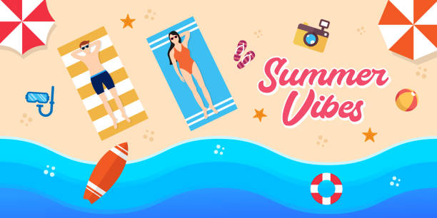 Summer Holiday on the beach Vector Illustration. Summer vacation Vector flat design illustration. Abstract Summer background design template for banner, flyer, invitation, poster, brochure. Summer Holiday on the beach Vector Illustration. Summer vacation Vector flat design illustration. Abstract Summer background design template for banner, flyer, invitation, poster, brochure. holiday and seasonal icons stock illustrations