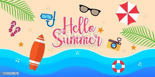 istock Summer Holiday on the beach Vector Illustration. Summer vacation Vector flat design illustration. Abstract Summer background design template for banner, flyer, invitation, poster, brochure. 1249328678