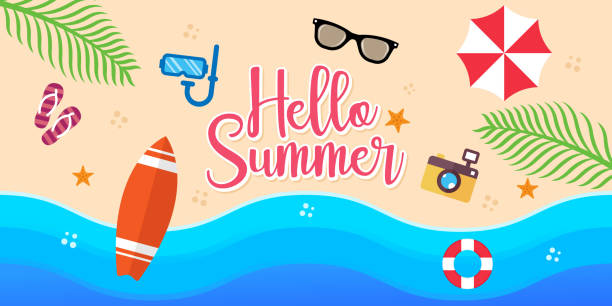 Summer Holiday on the beach Vector Illustration. Summer vacation Vector flat design illustration. Abstract Summer background design template for banner, flyer, invitation, poster, brochure. Summer Holiday on the beach Vector Illustration. Summer vacation Vector flat design illustration. Abstract Summer background design template for banner, flyer, invitation, poster, brochure. holidays and seasonal stock illustrations