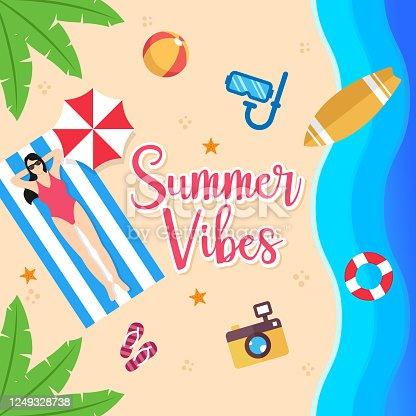 istock Summer Holiday on the beach Vector Illustration. Summer vacation Vector flat design illustration. Abstract Summer background design template for banner, flyer, invitation, poster, brochure. 1249328738