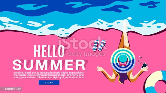 Summer Holiday, Poster , Banner, swimming pool, sunshine ,Vector Illustration.