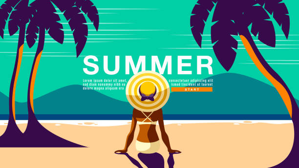 stockillustraties, clipart, cartoons en iconen met zomervakantie, poster design. banner, sunshine, tropical, vakantie, vector illustratie. - newspaper beach