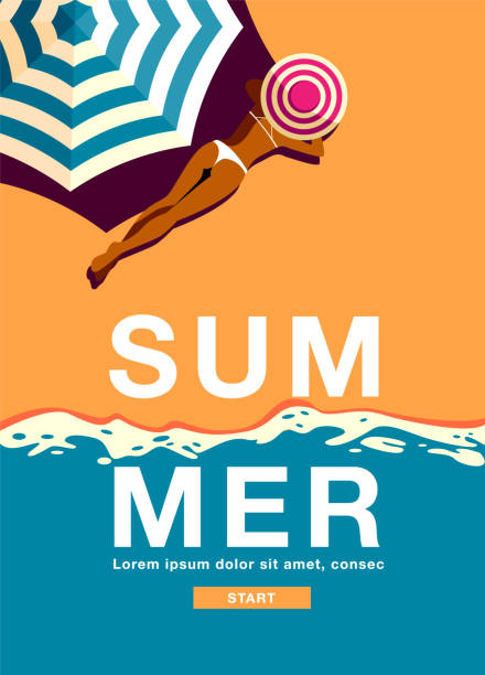 illustrazioni stock, clip art, cartoni animati e icone di tendenza di summer holiday, poster design ,banner template, sunshine  , tropical, vacation, vector illustration. - nuoto mare