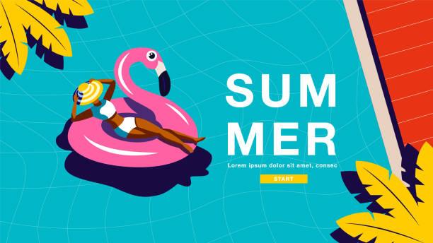 bildbanksillustrationer, clip art samt tecknat material och ikoner med sommar semester, affisch design, banner mall, solsken, tropiska, semester, vektor illustration. - pool