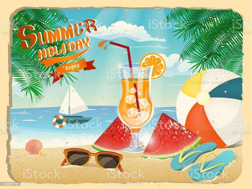 summer holiday poster vector art illustration