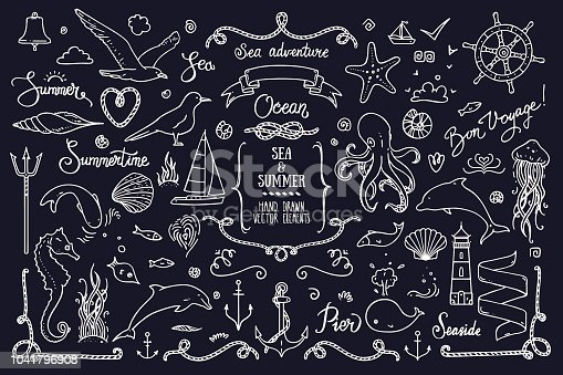 Sea life, ocean trip, summer marine cruise, summertime lettering and design elements . Big collection of hand drawn doodle style illustration: lighthouse, octopus, anchor, jellyfish, cordage frame. Isolated vector clipart collection.