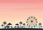 Summer holiday. Silhouette palm tree with Ferris wheel and beach chair on beach under sky sunset. Cartoon style. Party summer background. Vector illustration.
