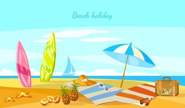 Summer holiday sunset beach scene tropical paradise vector art illustration