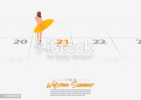 Summer Holiday. Surfer girl is standing with surfboard on the beach and looking to the sea shore. Woman holding surfboard in her hand marked date Summer season start on calendar 21th June 2019. Summer sport activity concepts. Vector Illustration.