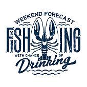 Summer holiday t-shirt print, fishing and drinking