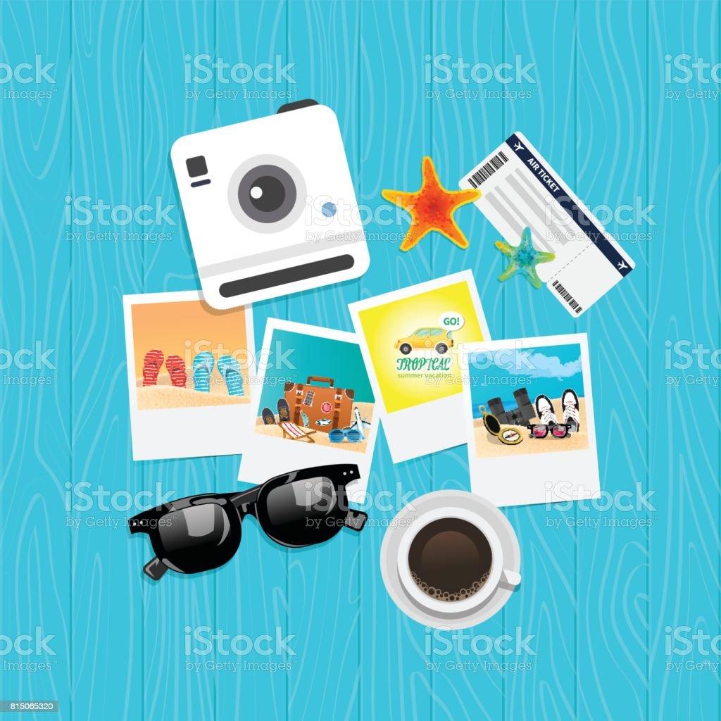 Concept de vacances vacances été, illustration vectorielle vue de dessus - Illustration vectorielle
