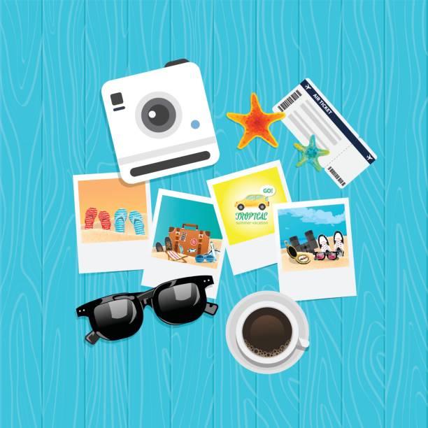 ilustrações, clipart, desenhos animados e ícones de conceito de férias verão férias, ilustração vetorial de vista superior - viagem de primeira classe