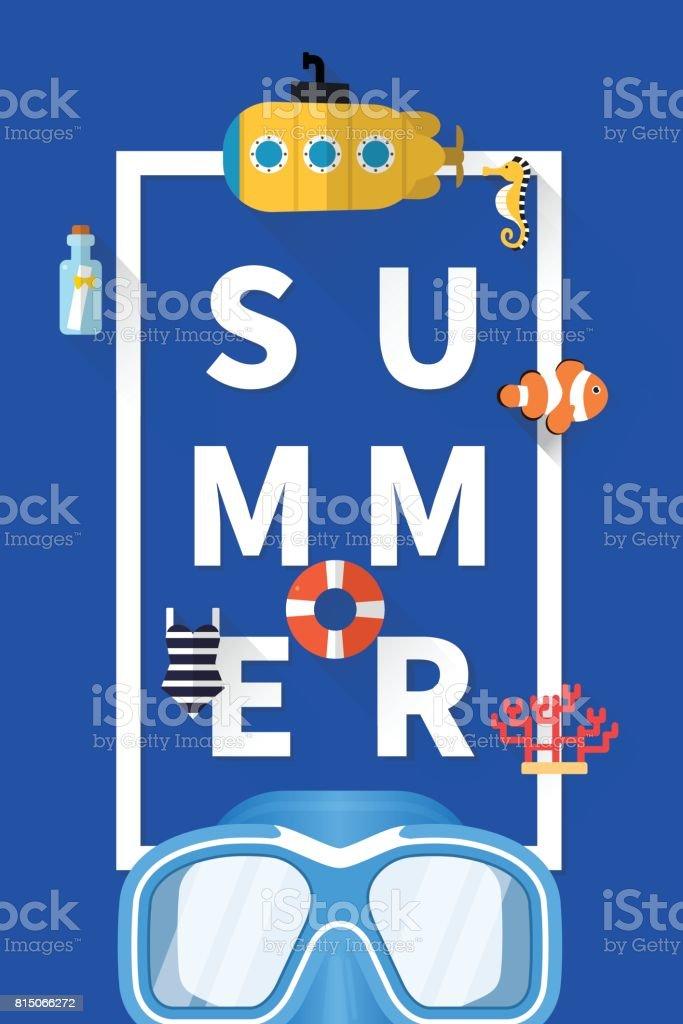 Summer holiday vacation concept, typography layout vector flat illustration vector art illustration