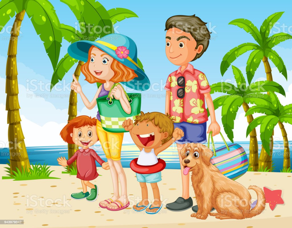 Summer holiday with family on the beach vector art illustration