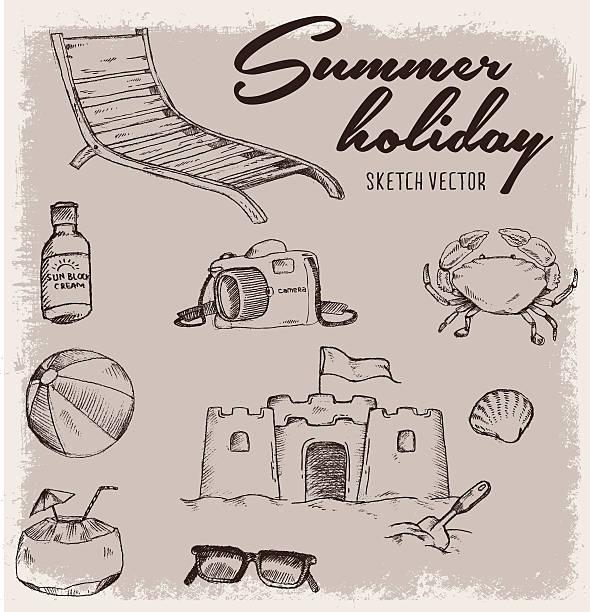 illustrations, cliparts, dessins animés et icônes de vacances d'été vintage avec croquis illustration - chateau de sable