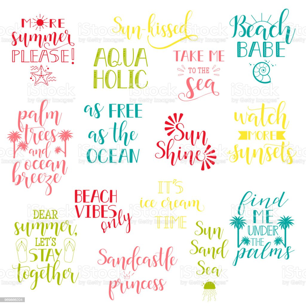 Summer Holidays And Vacation Quotes Phrases Words Vector Set Of Hand Drawn Calligraphy