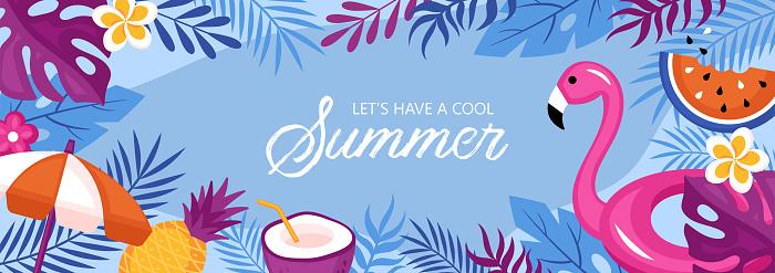 Summer holidays background. Template for social media banner, poster, greeting card or website design