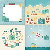 Summer holidays backgrounds collection. Holidays and Vacation concept. Travel icons. Vector illustration