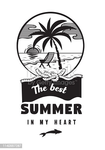 The best summer in my heart emblems or logo badge hand drawn calligraphy. Black vector lettering design for vacation tour on a white background. Typographic symbol with sea beach and palm