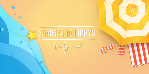 Summer holidays banner design template for poster, web, social media and mobile apps. Paper cut tropical beach top view background