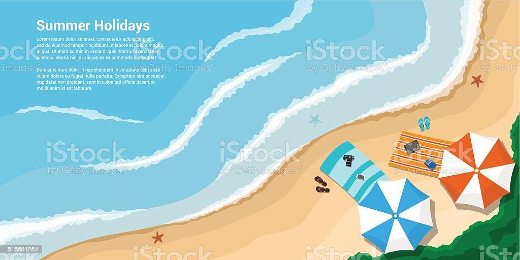 summer holidays banner vector art illustration