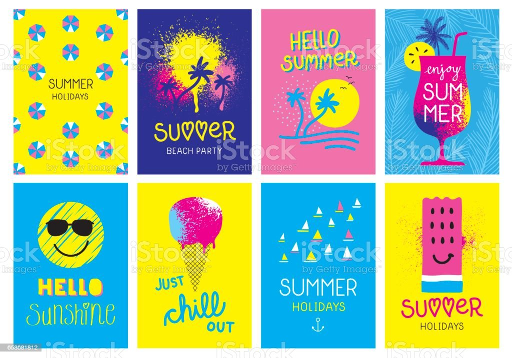 Summer holidays cards vector art illustration