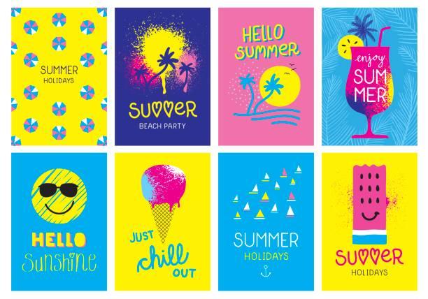 ilustraciones, imágenes clip art, dibujos animados e iconos de stock de tarjetas de vacaciones de verano - verano