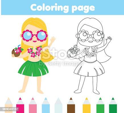 Ilustración de Vacaciones De Verano Página Para Colorear Para Niños ...