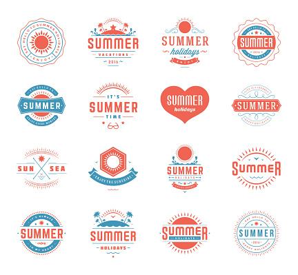Summer Holidays Design Elements and Typography Set Retro Vintage Templates.