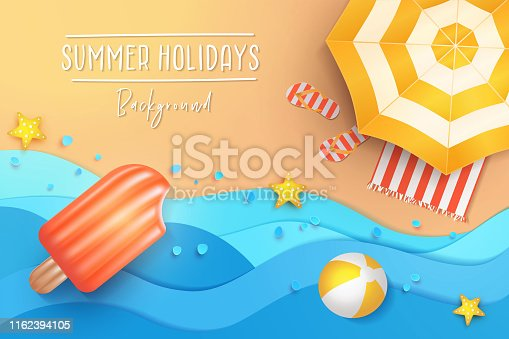 Summer holidays banner design template for poster, web, social media and mobile apps. Paper cut tropical beach top view background with umbrella, flip flops, ball and swim Ice cream air mattress.