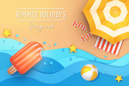 Summer holidays illustration. Paper cut tropical beach top view background with umbrella, flip flops, ball and swim Ice cream air mattress.
