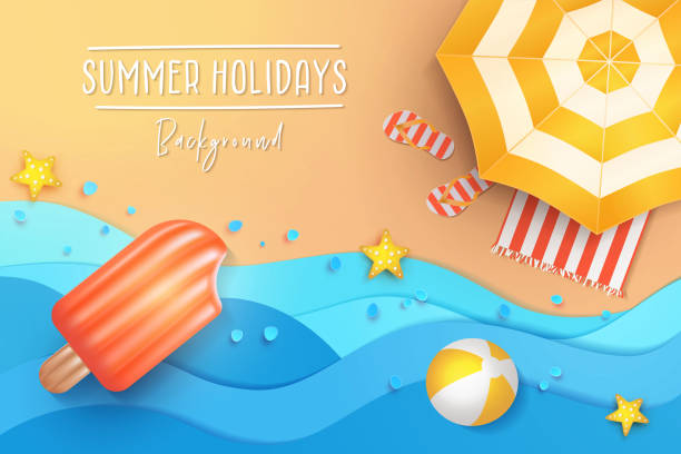 Summer holidays illustration. Paper cut tropical beach top view background with umbrella, flip flops, ball and swim Ice cream air mattress. Summer holidays banner design template for poster, web, social media and mobile apps. Paper cut tropical beach top view background with umbrella, flip flops, ball and swim Ice cream air mattress. summer stock illustrations