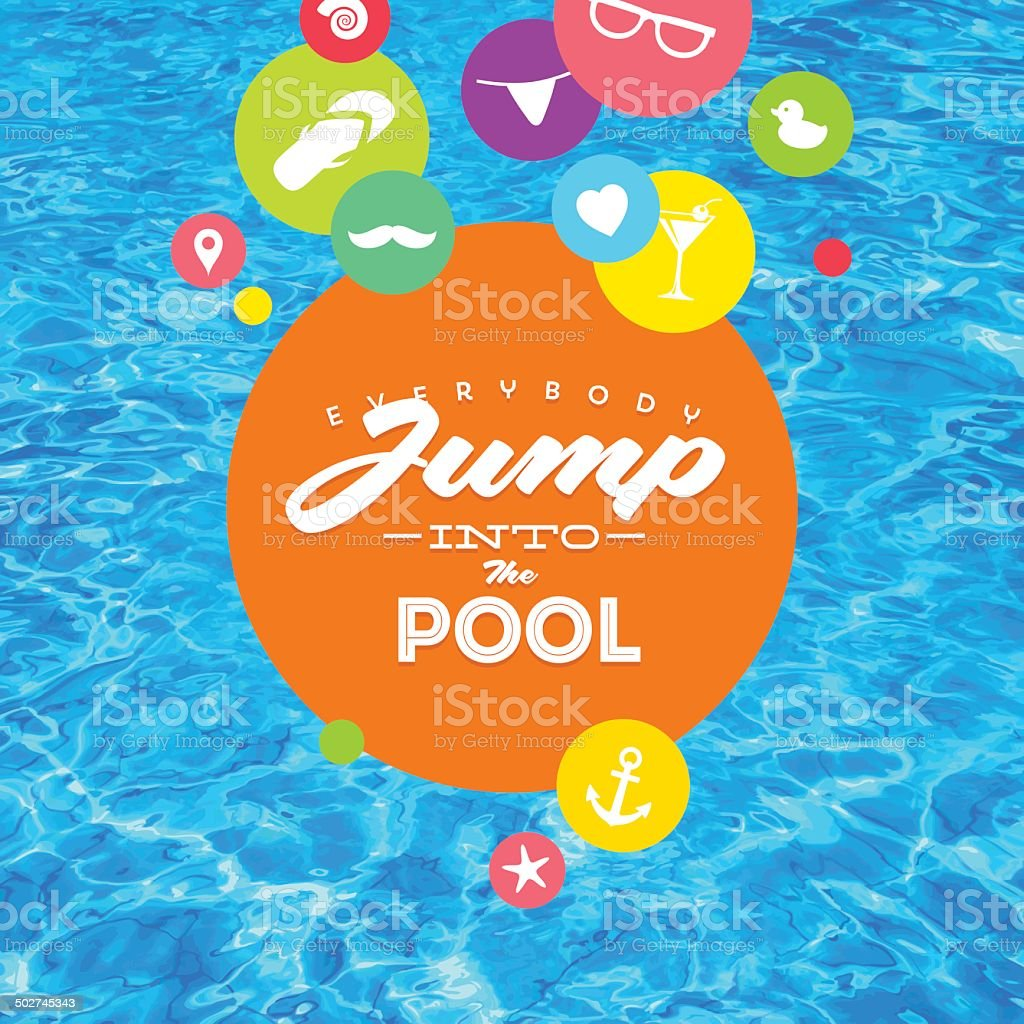 Summer holidays illustration with pool water and type design vector art illustration