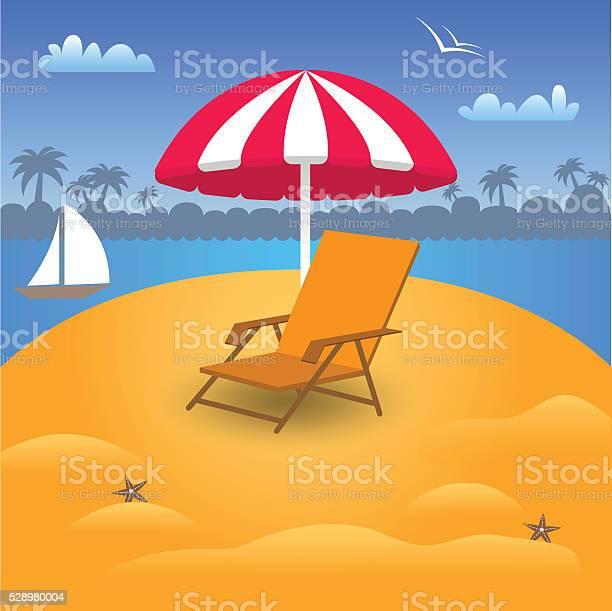 Vacanze Estive In Spiaggia Mare Illustrazione Vettoriale - Immagini vettoriali stock e altre immagini di Acqua - iStock