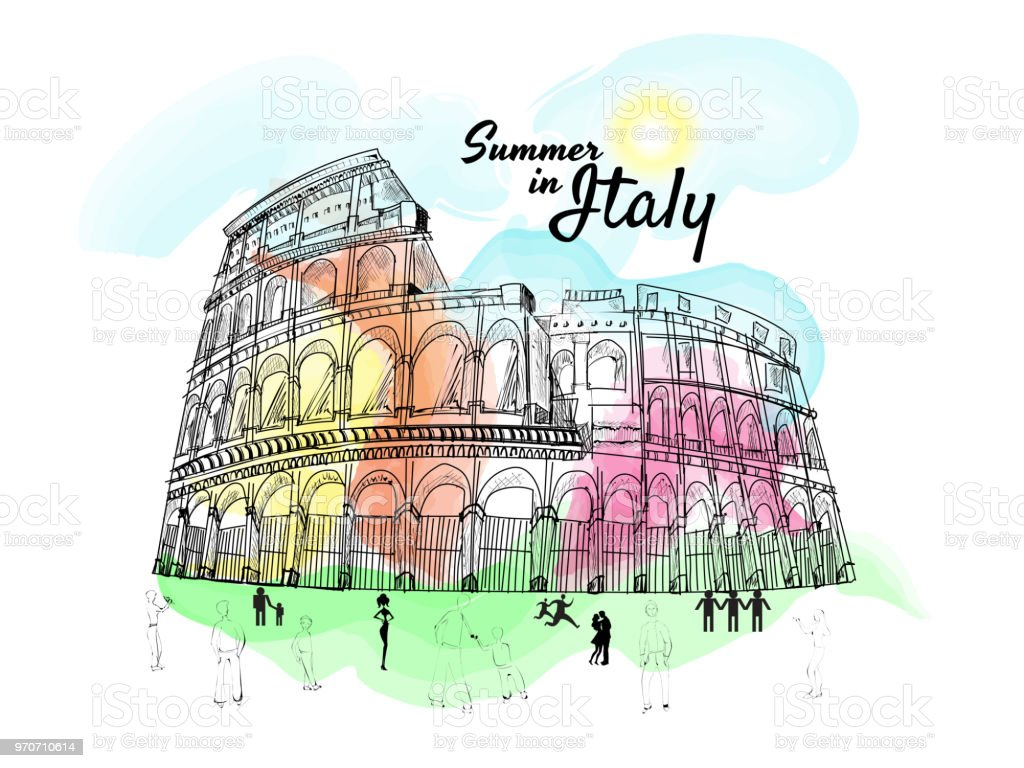 Summer Holidays In Italy Concept With Doodle Illustration Of