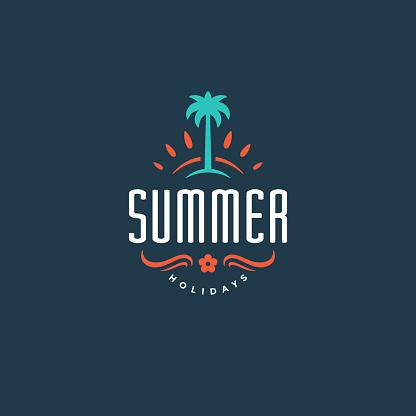 Summer holidays label or badge typography slogan design