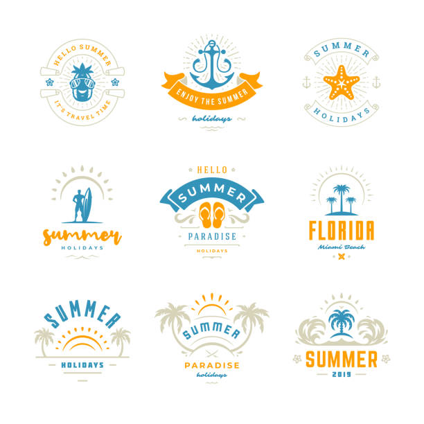 Summer holidays labels and badges retro typography design set Summer holidays labels and badges retro typography design set. Templates for greeting cards, posters and apparel design. Vector illustration. beach icons stock illustrations