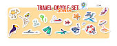 Summer holidays, ocean travel, mountain trip. Vector Set for summer time vacation. Set of stickers with sketch design element summer theme. Hand drawn doodle stickers with adventure objects.
